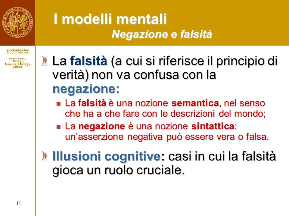 I modelli mentali Negazione e falsità