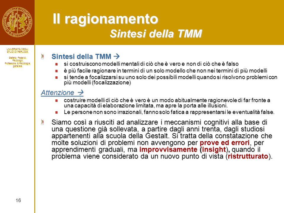 Il ragionamento Sintesi della TMM