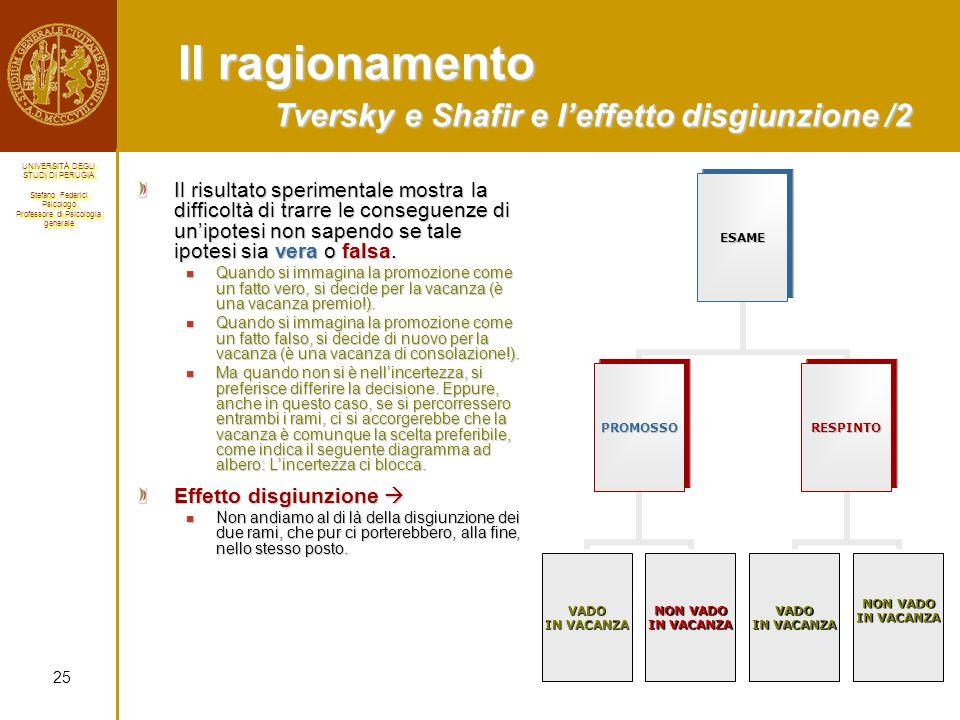 Il ragionamento Tversky e Shafir e l'effetto disgiunzione /2