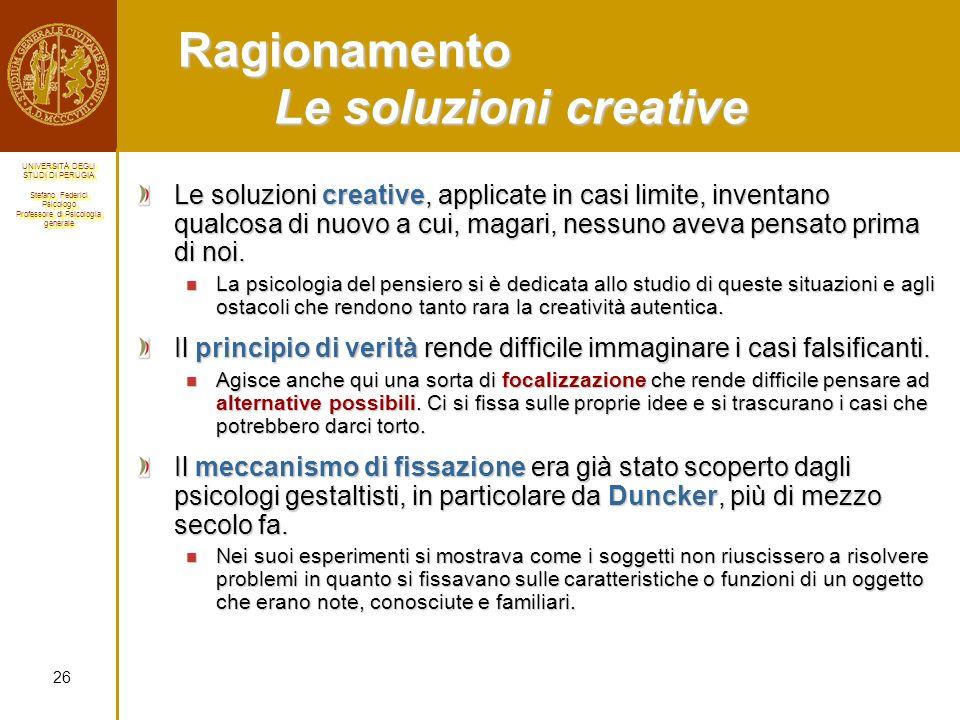 Ragionamento Le soluzioni creative