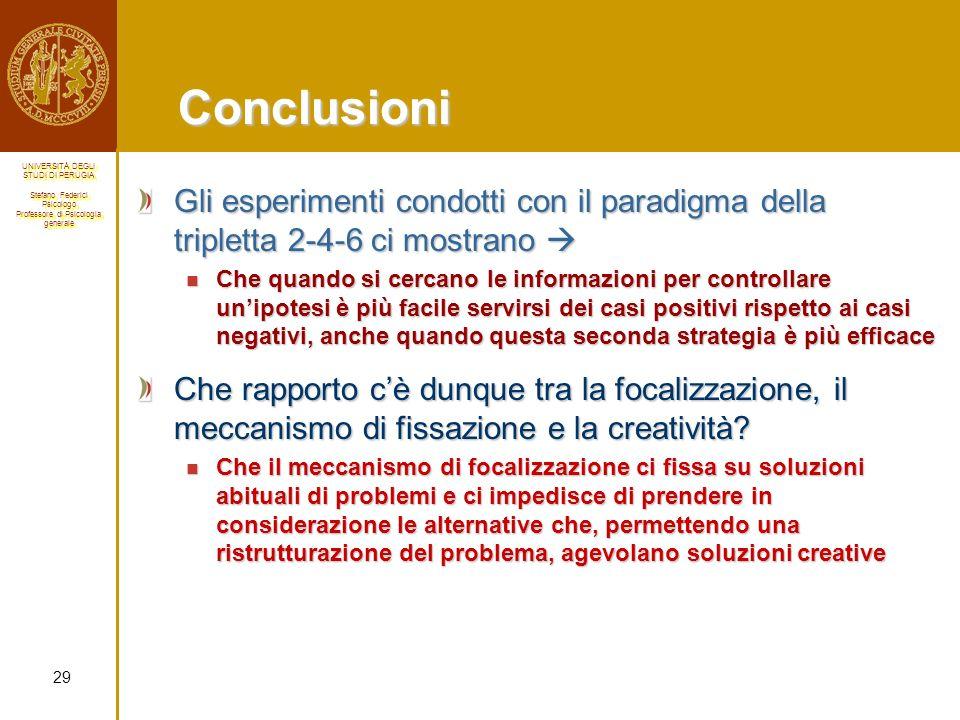 Conclusioni Gli esperimenti condotti con il paradigma della tripletta 2-4-6 ci mostrano 