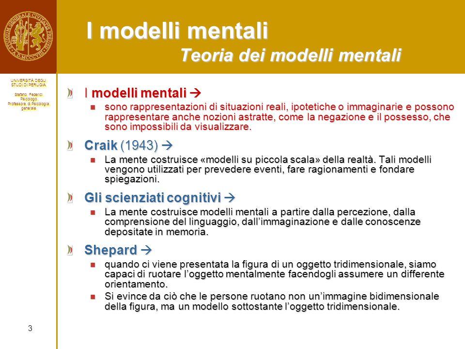 I modelli mentali Teoria dei modelli mentali