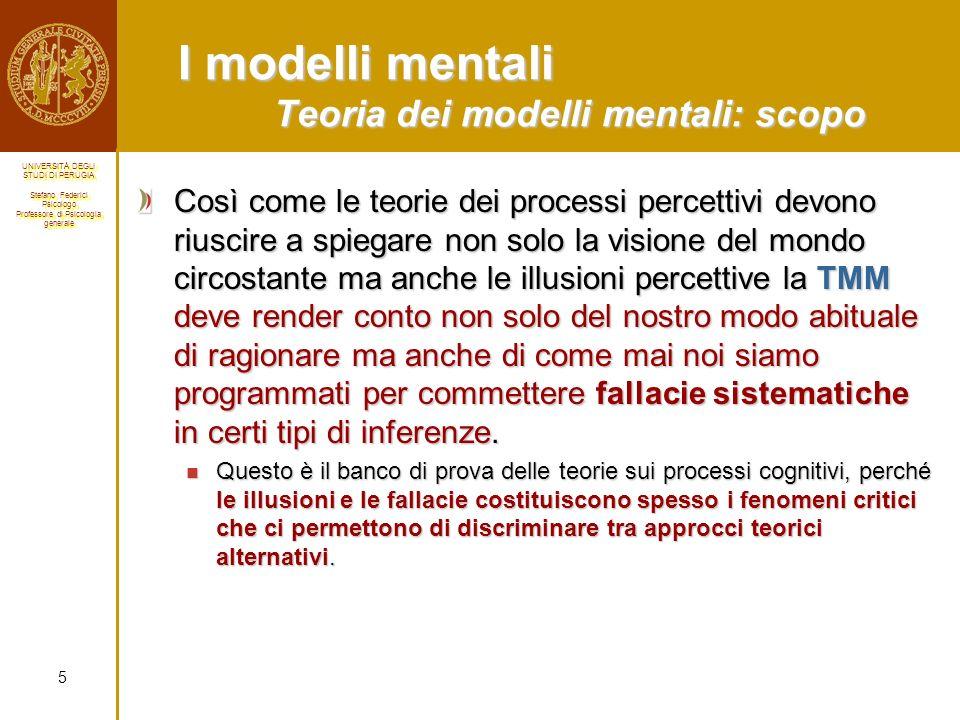 I modelli mentali Teoria dei modelli mentali: scopo