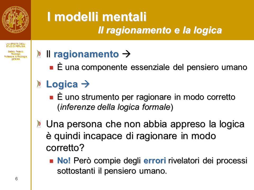 I modelli mentali Il ragionamento e la logica