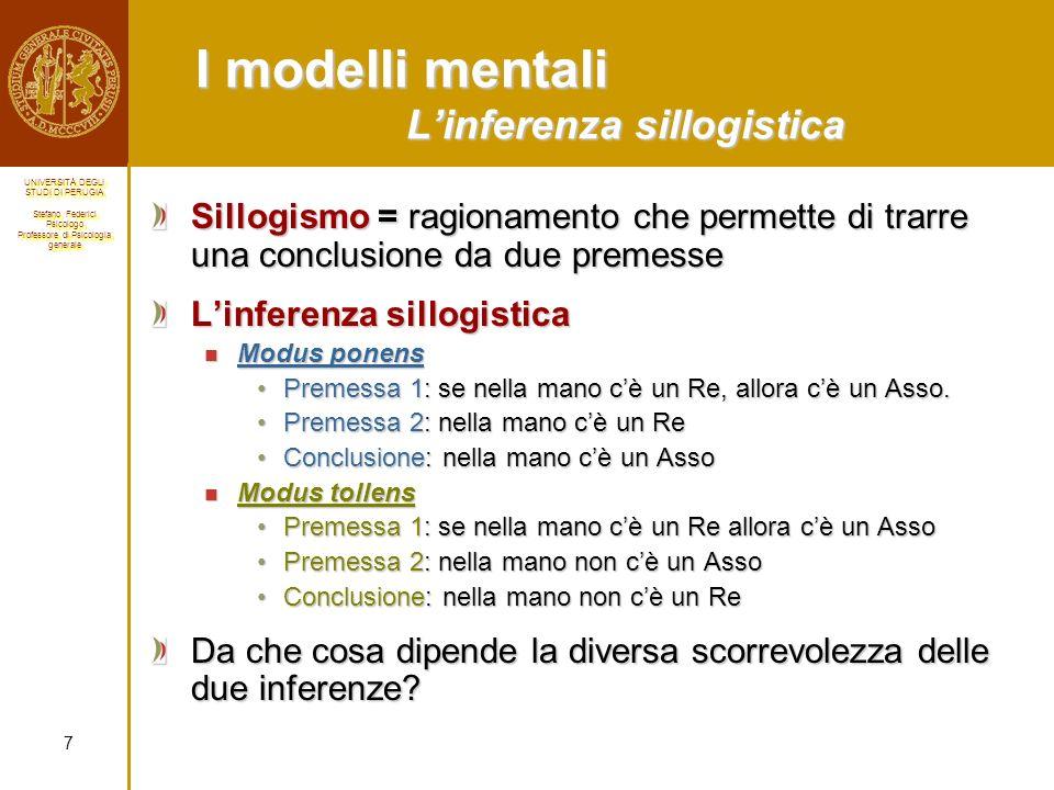 I modelli mentali L'inferenza sillogistica