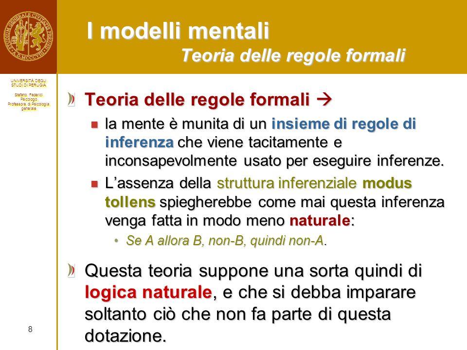 I modelli mentali Teoria delle regole formali