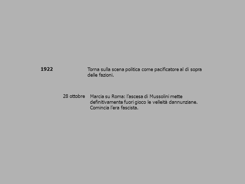 1922 Torna sulla scena politica come pacificatore al di sopra delle fazioni. 28 ottobre.
