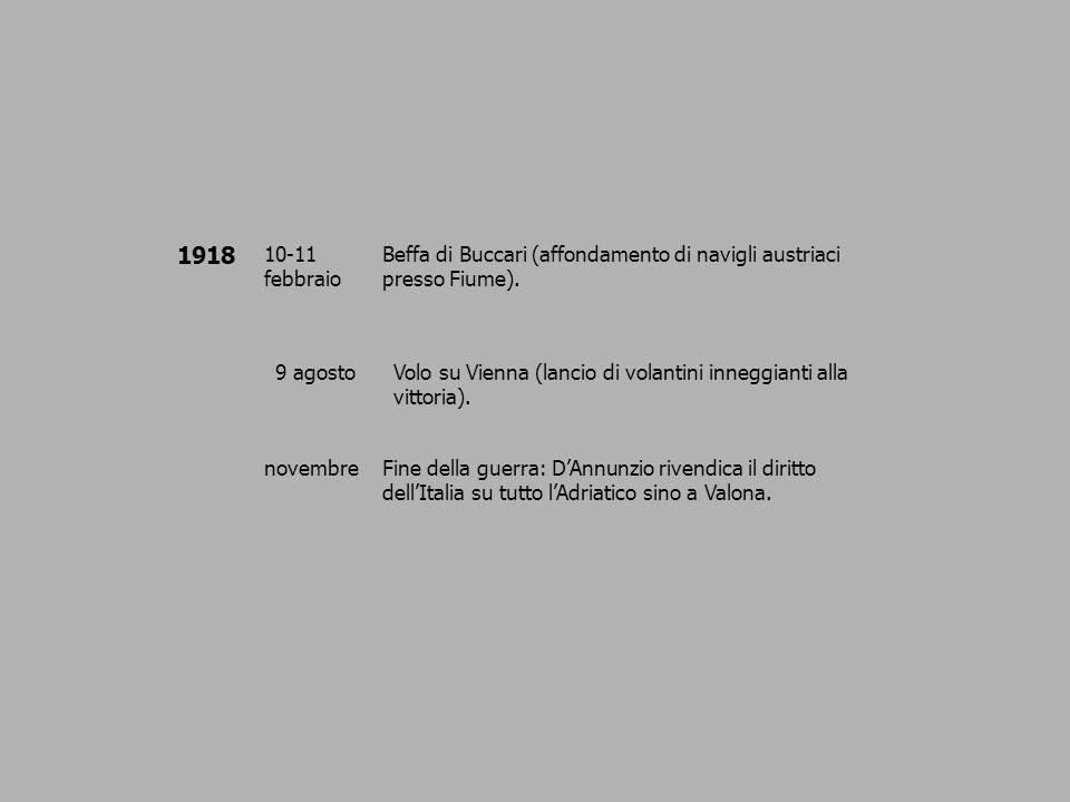 1918 10-11 febbraio. Beffa di Buccari (affondamento di navigli austriaci presso Fiume). 9 agosto.