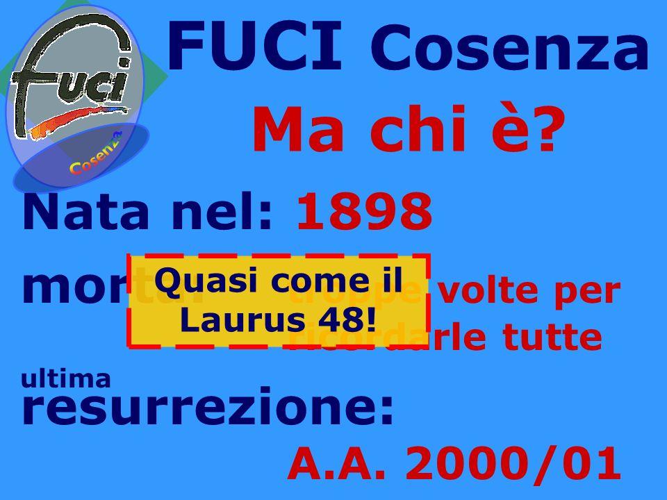 FUCI Cosenza Ma chi è Nata nel: 1898