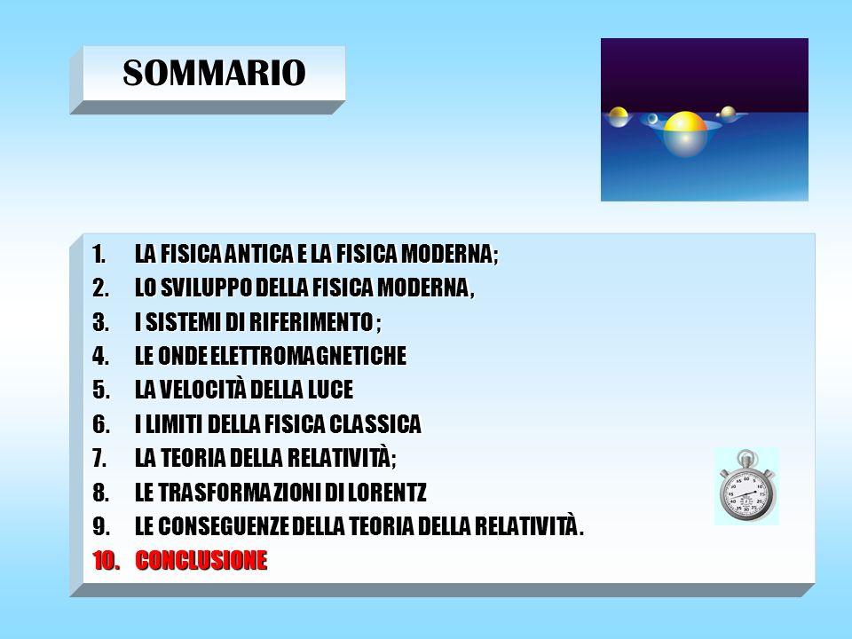 SOMMARIO LA FISICA ANTICA E LA FISICA MODERNA;