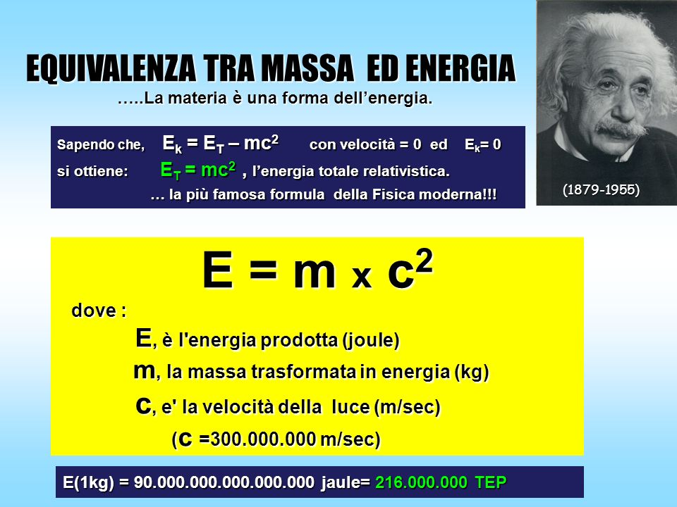 …..La materia è una forma dell'energia.