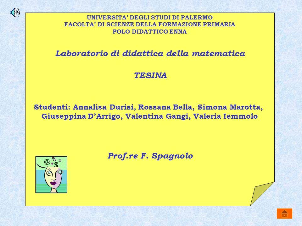 Laboratorio di didattica della matematica TESINA Prof.re F. Spagnolo