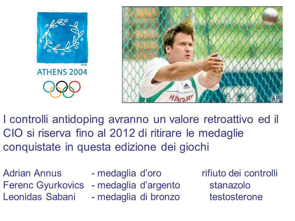 I controlli antidoping avranno un valore retroattivo ed il CIO si riserva fino al 2012 di ritirare le medaglie conquistate in questa edizione dei giochi