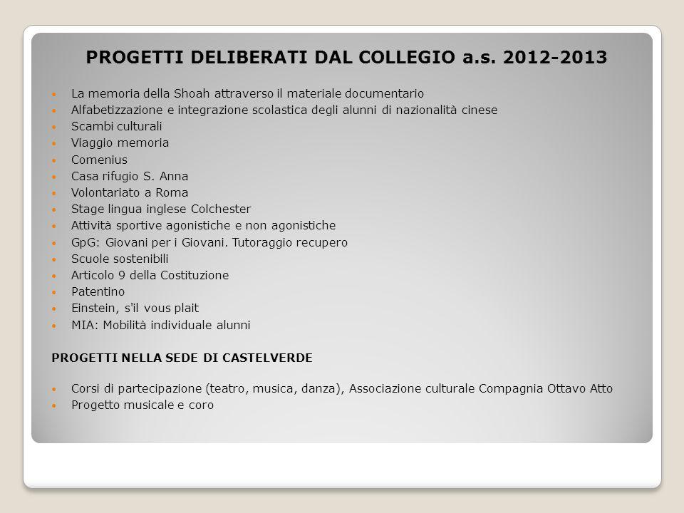 PROGETTI DELIBERATI DAL COLLEGIO a.s. 2012-2013