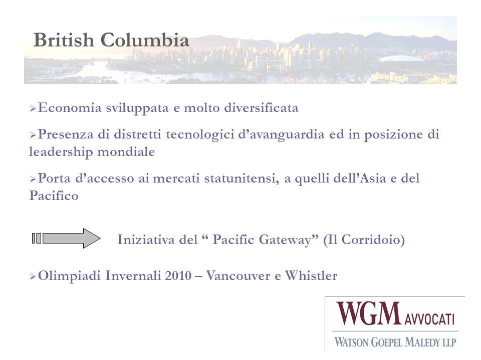 British Columbia Economia sviluppata e molto diversificata