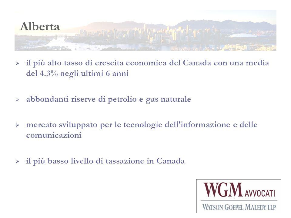 Alberta il più alto tasso di crescita economica del Canada con una media del 4.3% negli ultimi 6 anni.