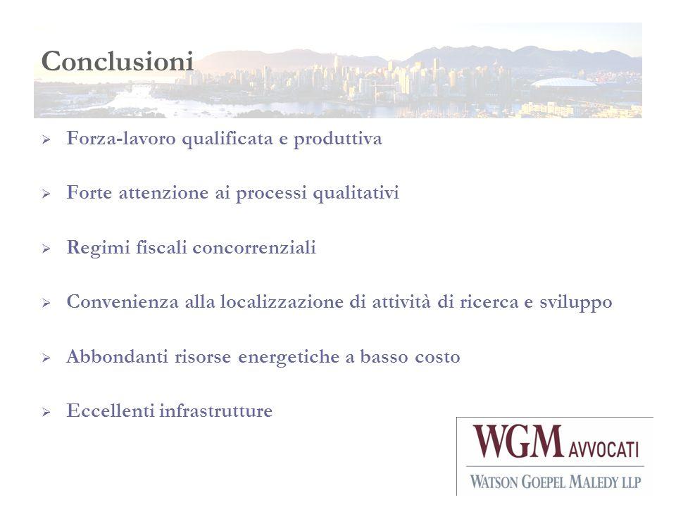 Conclusioni Forza-lavoro qualificata e produttiva