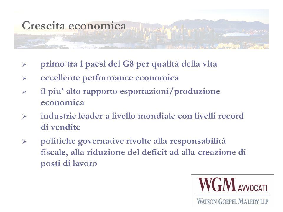 Crescita economica primo tra i paesi del G8 per qualitá della vita