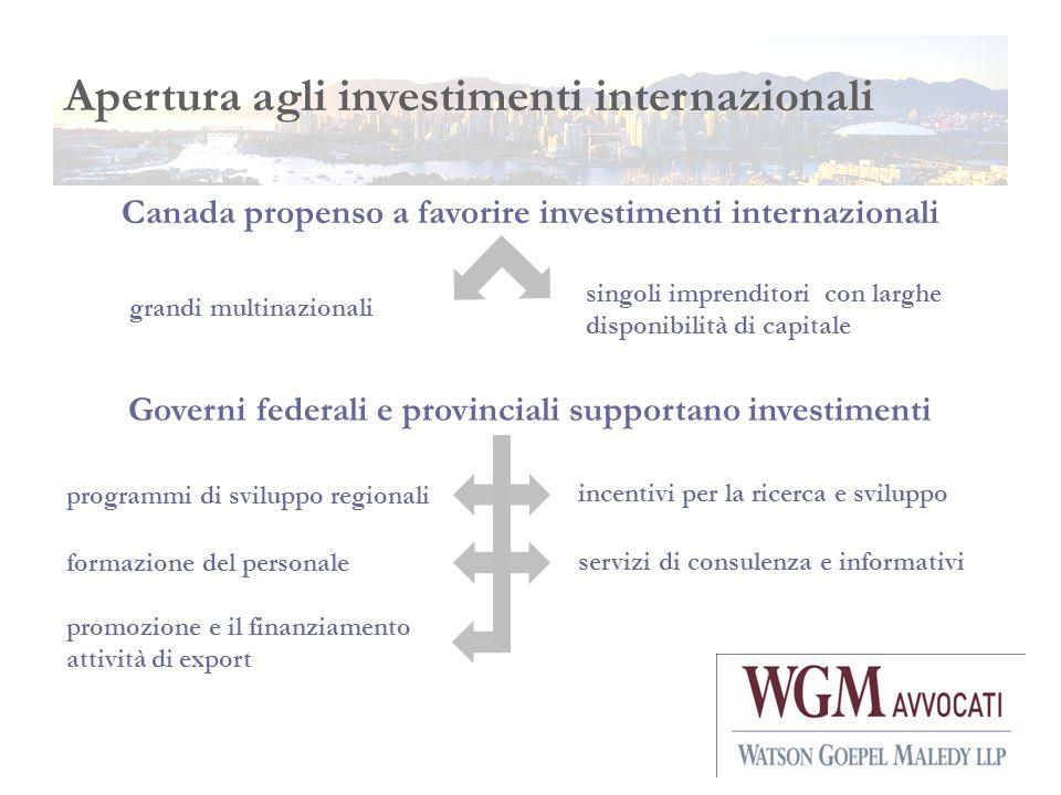 Apertura agli investimenti internazionali