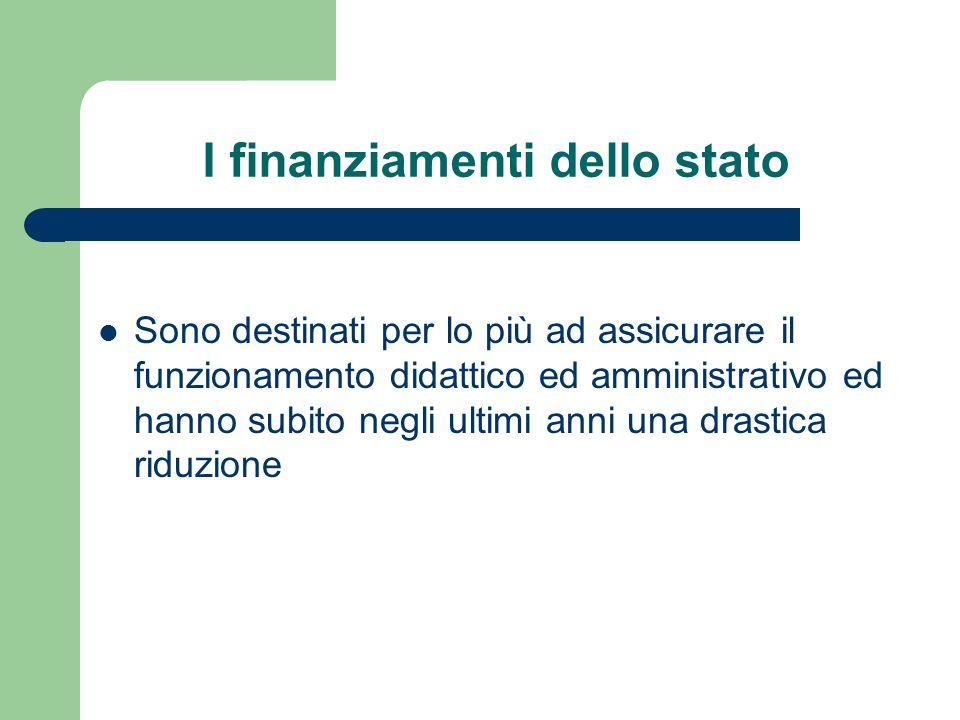I finanziamenti dello stato