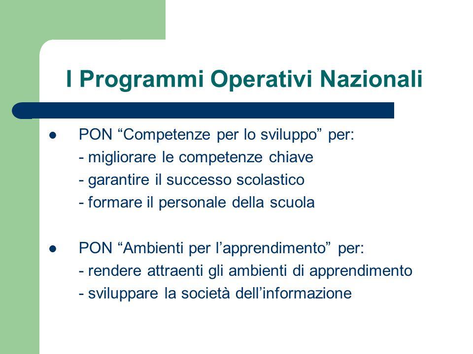 I Programmi Operativi Nazionali