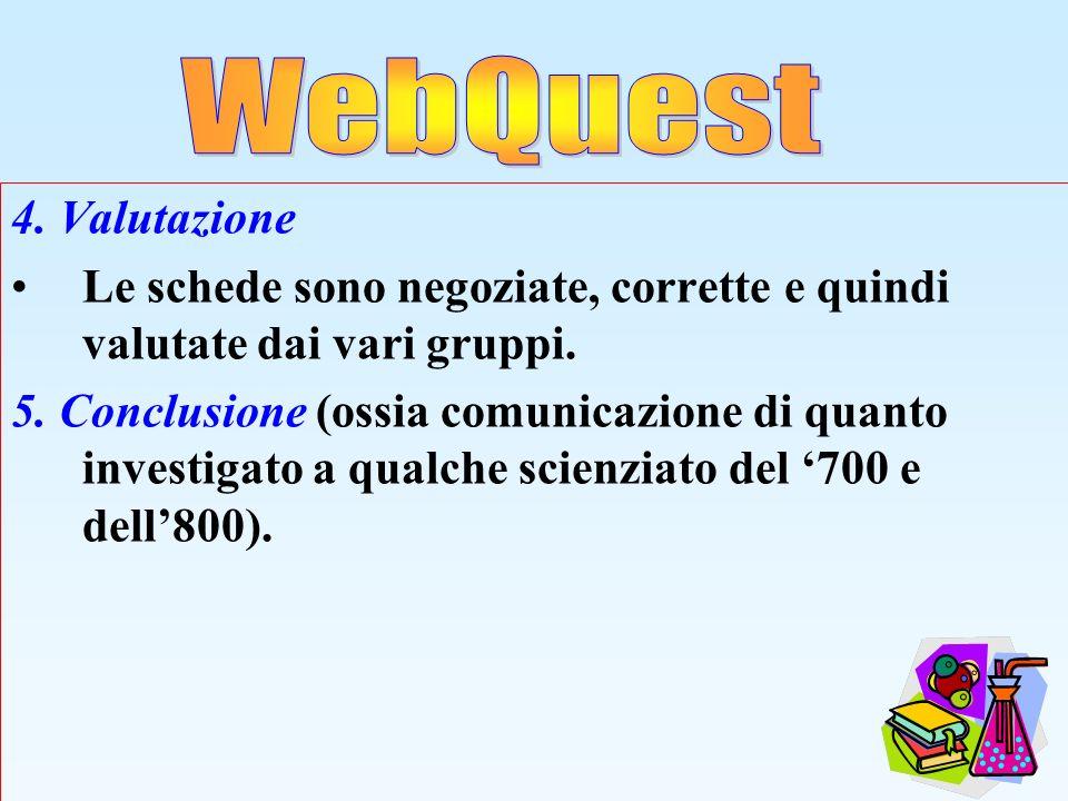 WebQuest 4. Valutazione. Le schede sono negoziate, corrette e quindi valutate dai vari gruppi.