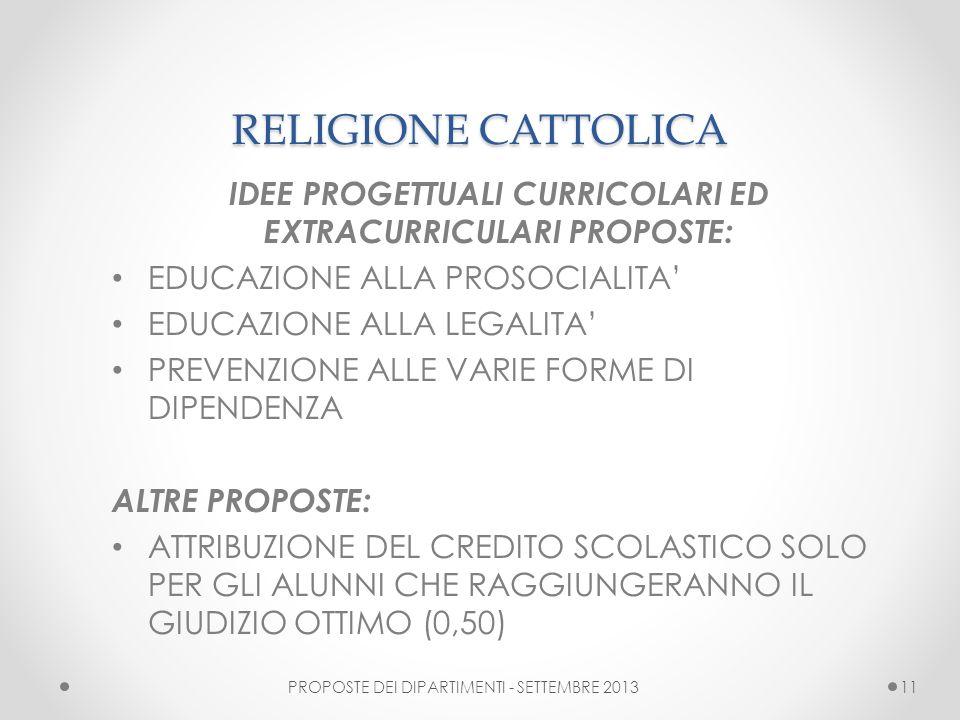 IDEE PROGETTUALI CURRICOLARI ED EXTRACURRICULARI PROPOSTE: