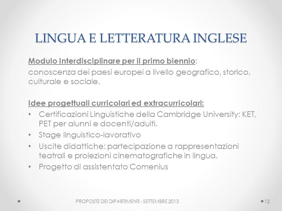 LINGUA E LETTERATURA INGLESE