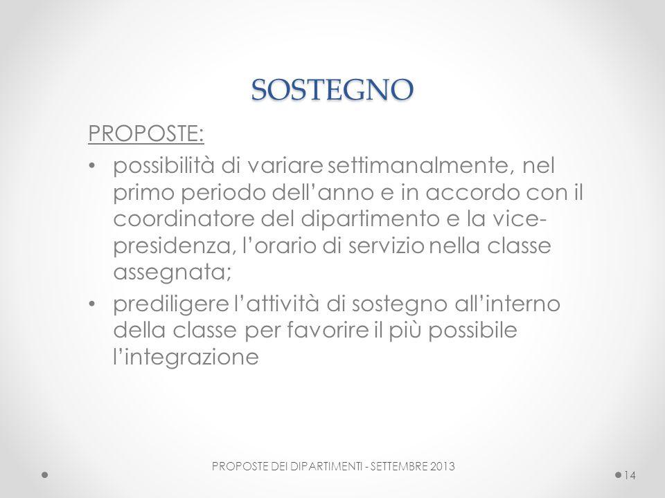 PROPOSTE DEI DIPARTIMENTI - SETTEMBRE 2013