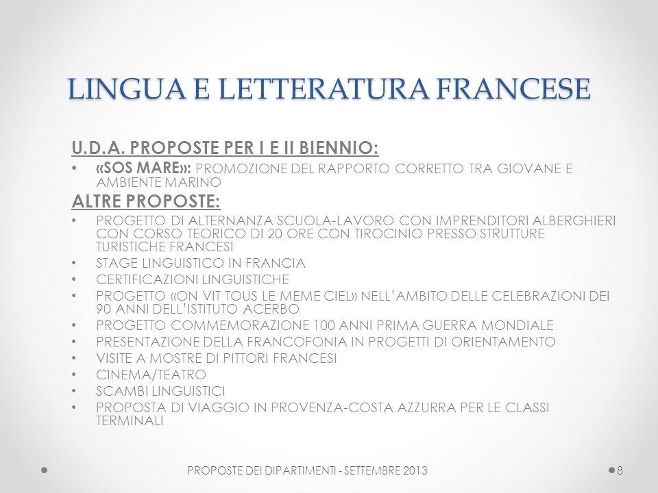 LINGUA E LETTERATURA FRANCESE