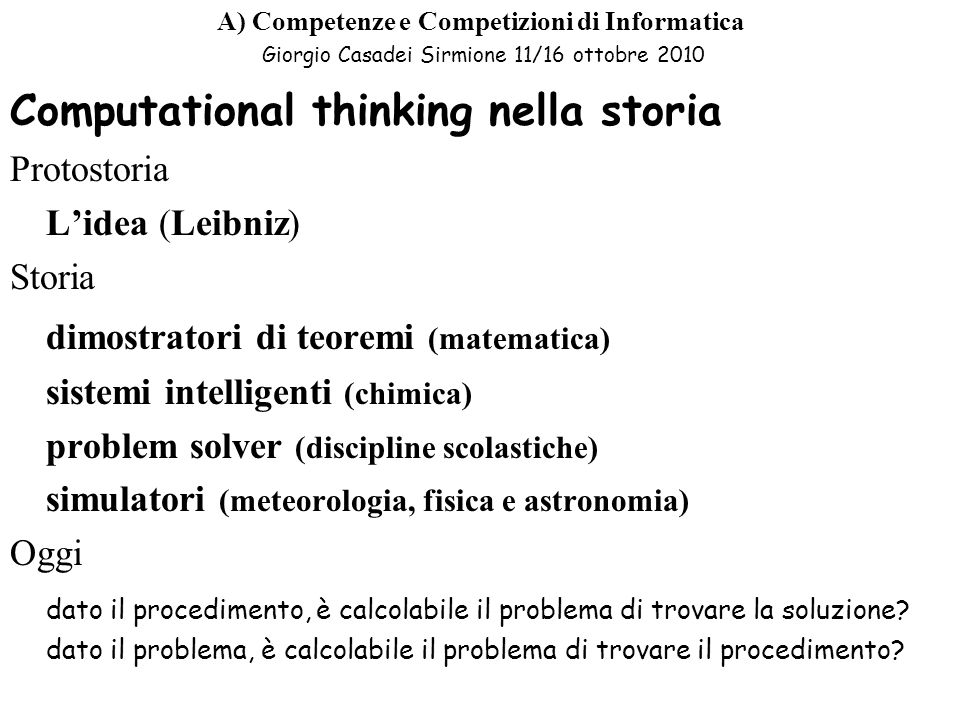 Computational thinking nella storia
