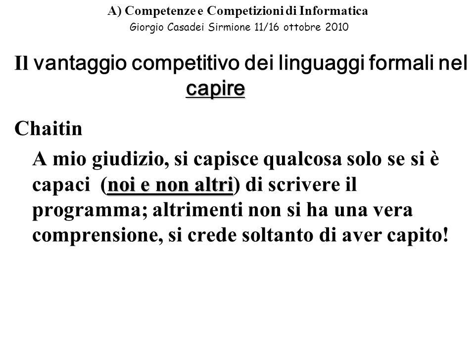 Il vantaggio competitivo dei linguaggi formali nel capire Chaitin