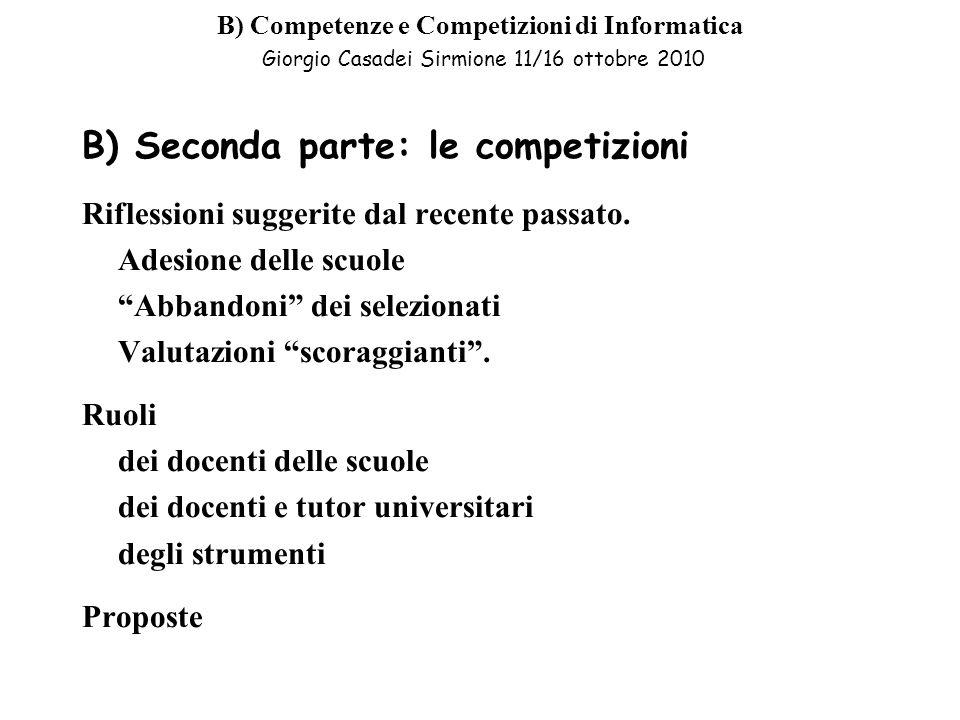 B) Seconda parte: le competizioni