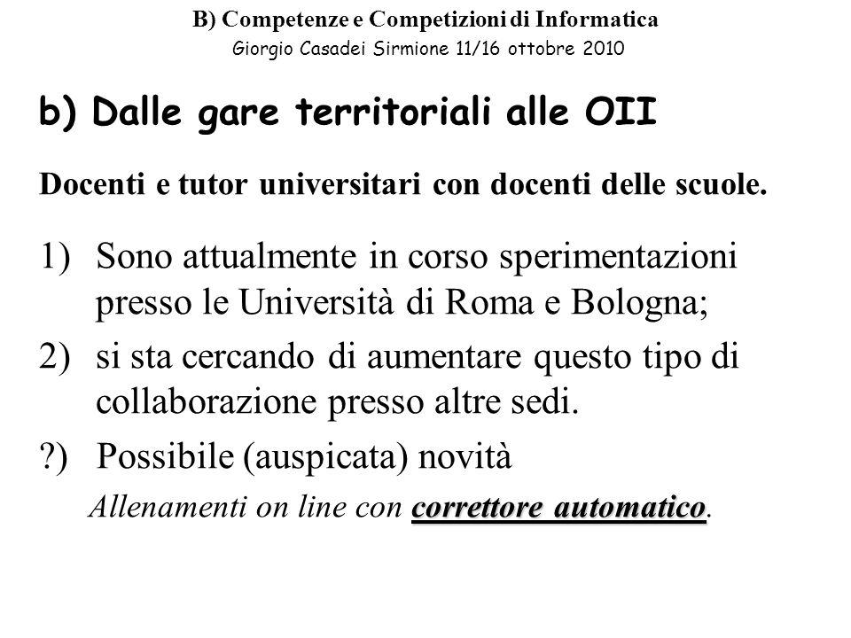 b) Dalle gare territoriali alle OII