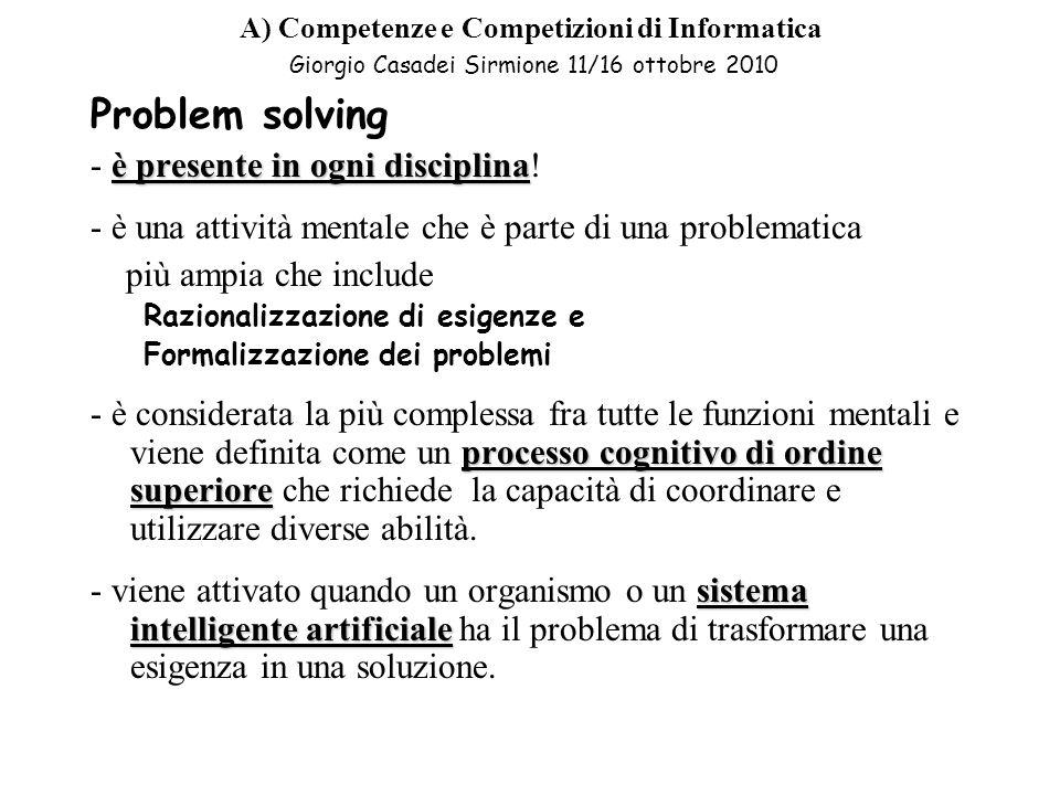 Problem solving - è presente in ogni disciplina!