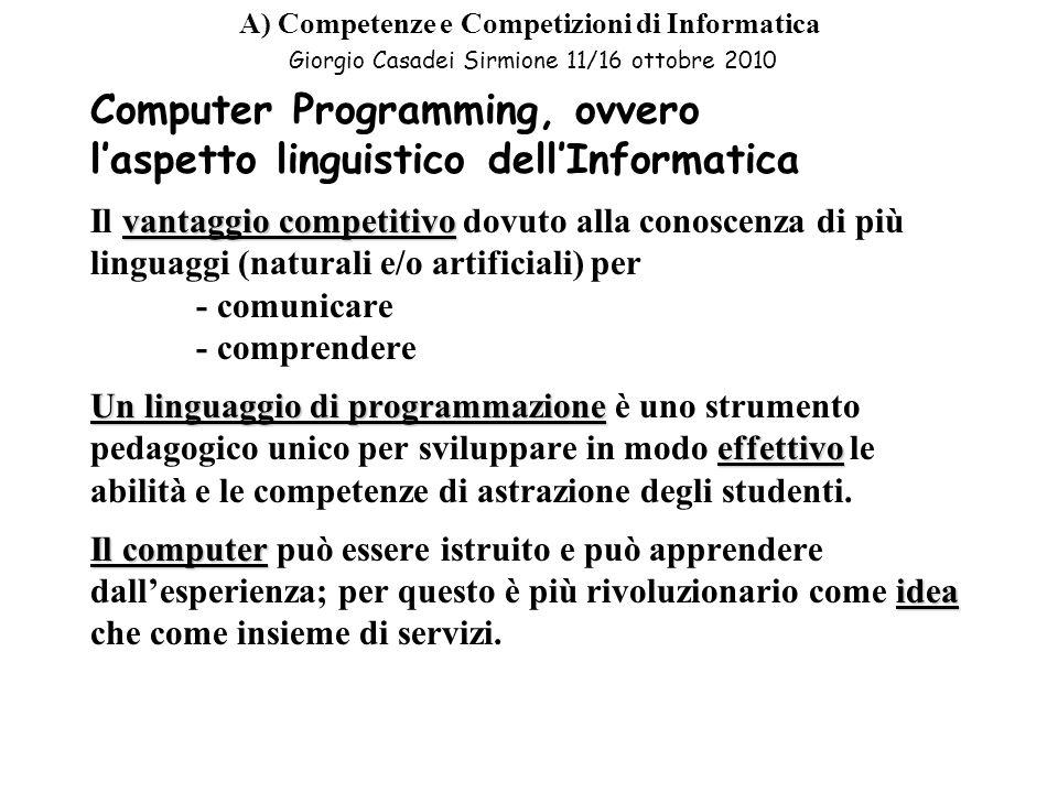 Computer Programming, ovvero l'aspetto linguistico dell'Informatica