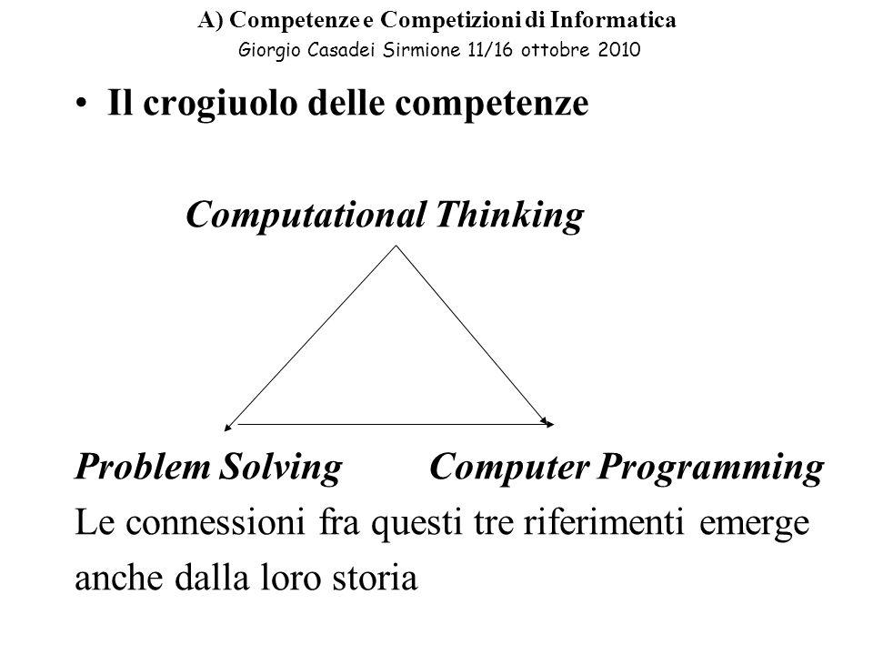 Il crogiuolo delle competenze Computational Thinking