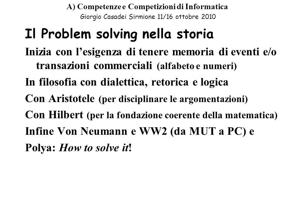 Il Problem solving nella storia