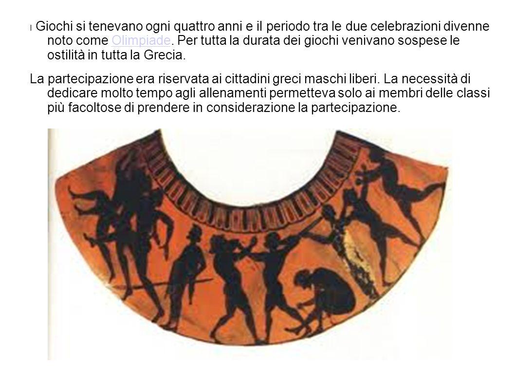 I Giochi si tenevano ogni quattro anni e il periodo tra le due celebrazioni divenne noto come Olimpiade. Per tutta la durata dei giochi venivano sospese le ostilità in tutta la Grecia.