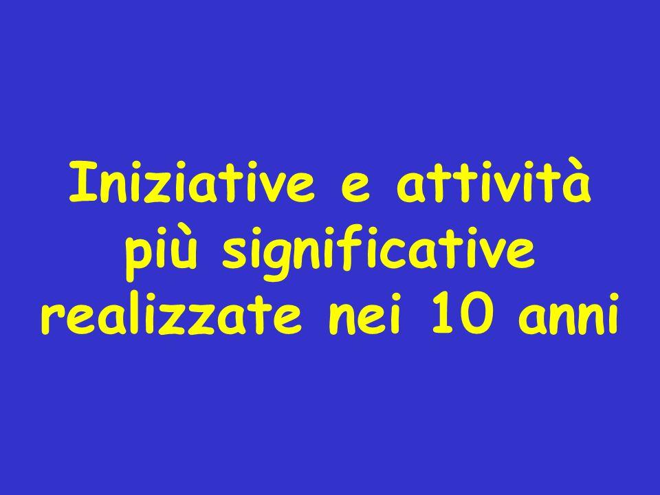 Iniziative e attività più significative realizzate nei 10 anni