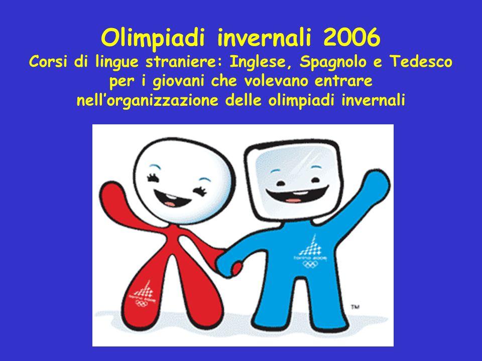 Olimpiadi invernali 2006 Corsi di lingue straniere: Inglese, Spagnolo e Tedesco. per i giovani che volevano entrare.