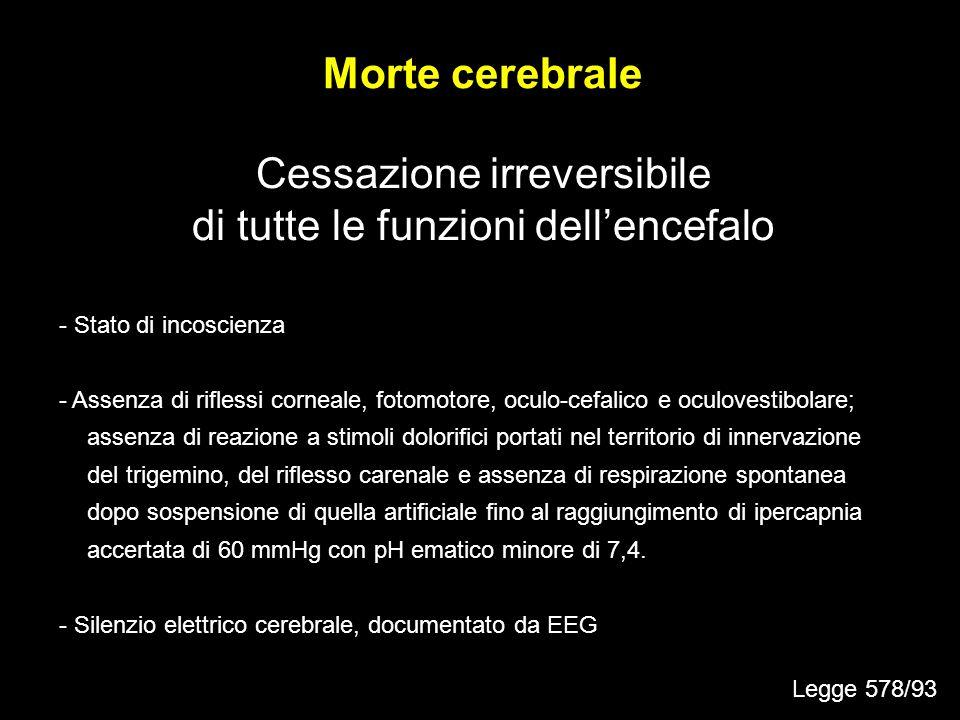 Cessazione irreversibile di tutte le funzioni dell'encefalo