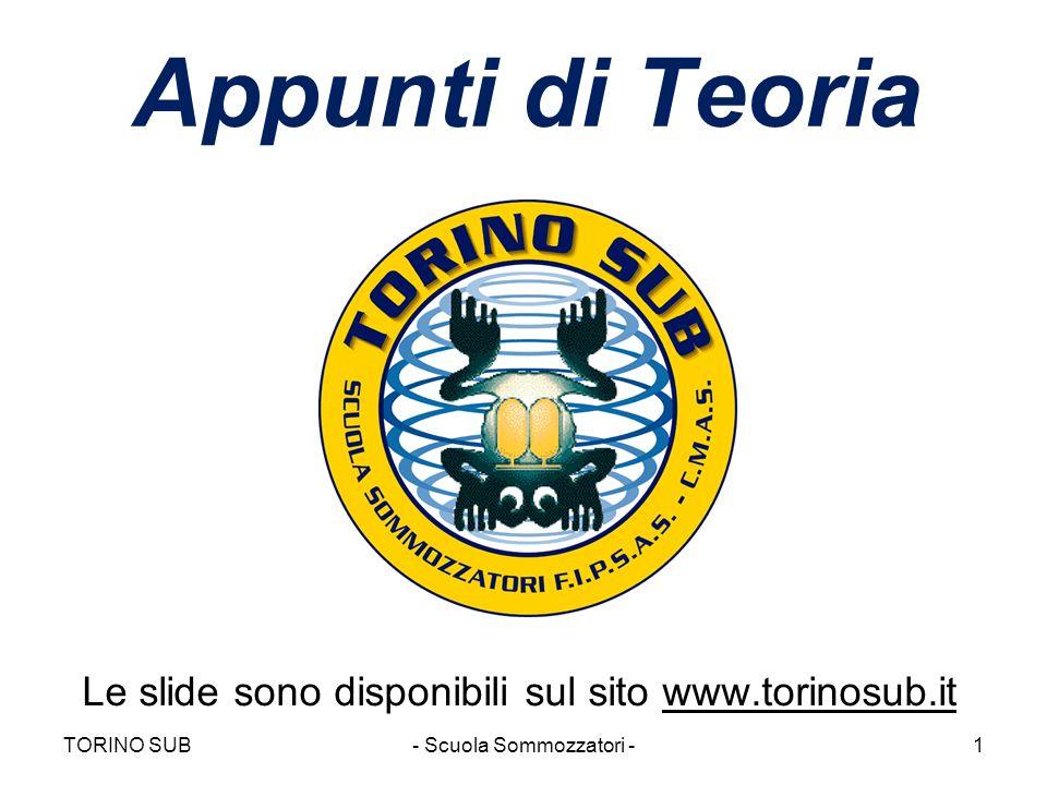 Appunti di Teoria Le slide sono disponibili sul sito www.torinosub.it