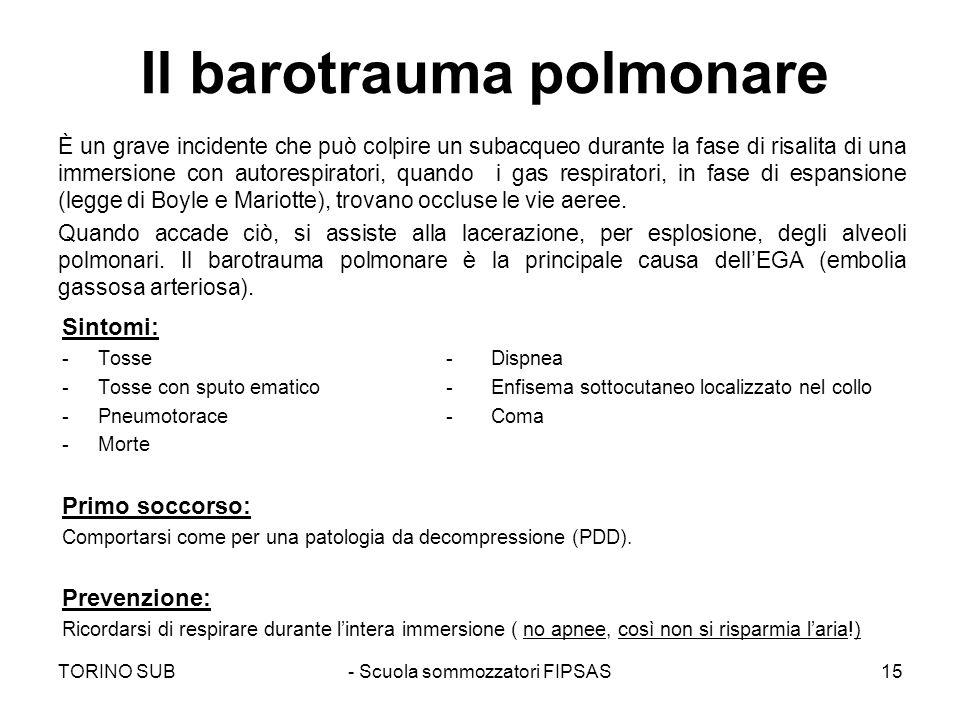 Il barotrauma polmonare