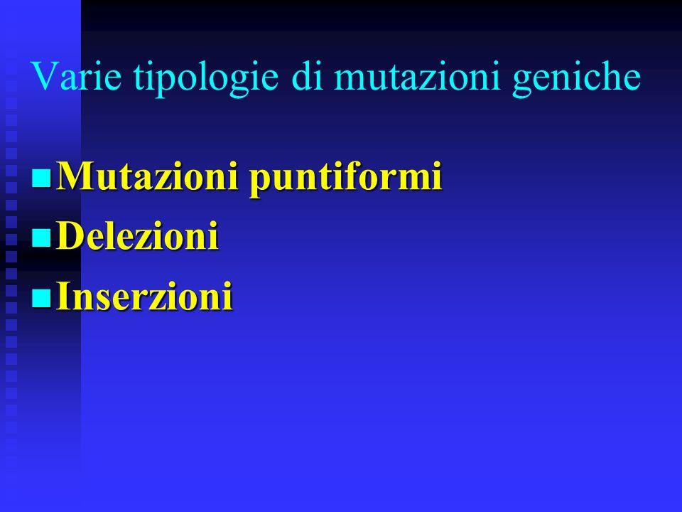 Varie tipologie di mutazioni geniche