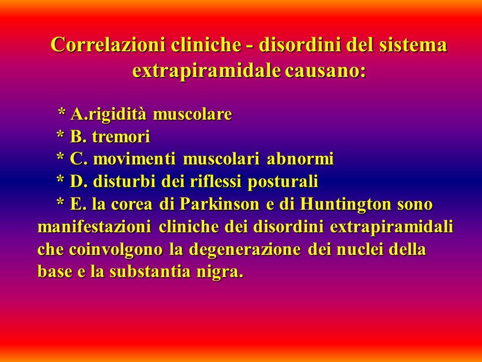 Correlazioni cliniche - disordini del sistema extrapiramidale causano: