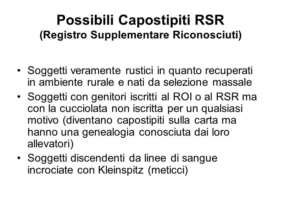 Possibili Capostipiti RSR (Registro Supplementare Riconosciuti)