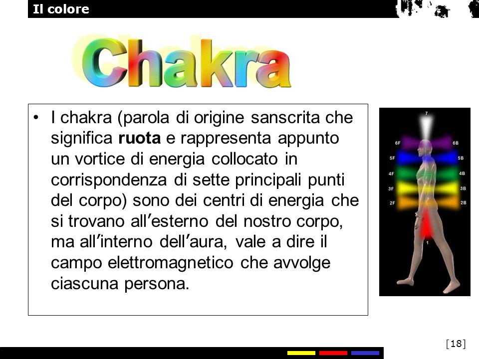 I chakra (parola di origine sanscrita che significa ruota e rappresenta appunto un vortice di energia collocato in corrispondenza di sette principali punti del corpo) sono dei centri di energia che si trovano all'esterno del nostro corpo, ma all'interno dell'aura, vale a dire il campo elettromagnetico che avvolge ciascuna persona.