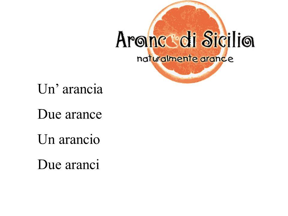 Un' arancia Due arance Un arancio Due aranci