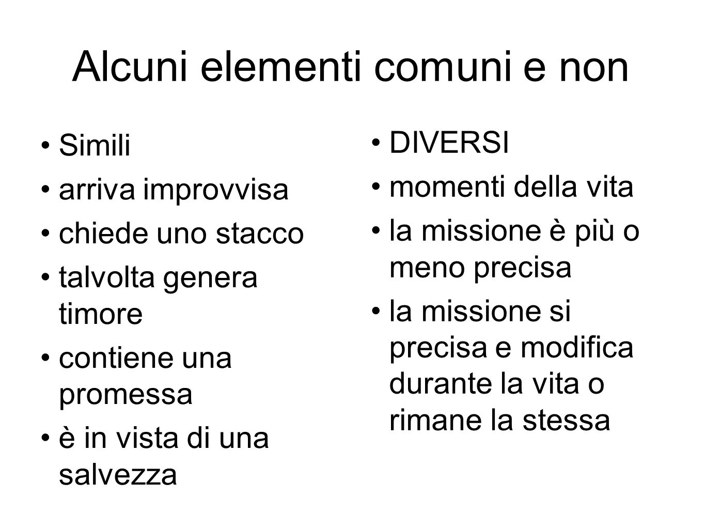 Alcuni elementi comuni e non